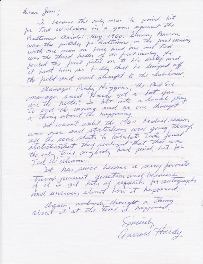 Incredibly detailed handwritten letter from Carroll Hardy about pinch hitting for Ted Williams