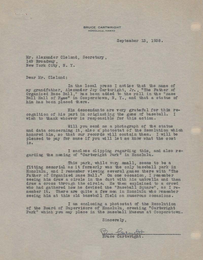 Letter of 9/13/38 from Cartwright's grandson to the HoF - amazing content