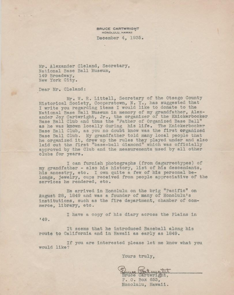 Letter to HoF secretary from Alexander Cartwright's grandson dated four years before opening of the Hall