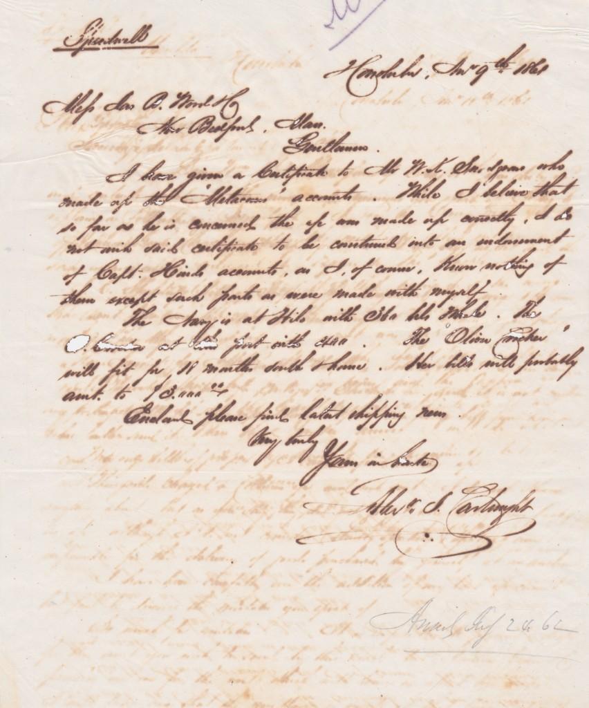 Alexander Cartwright letterpress letter from 1861