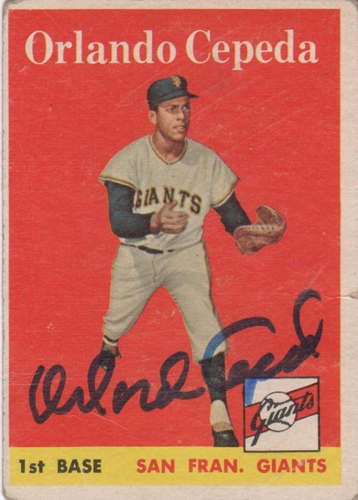 Autographed Orlando Cepeda 1958 Topps rookie card