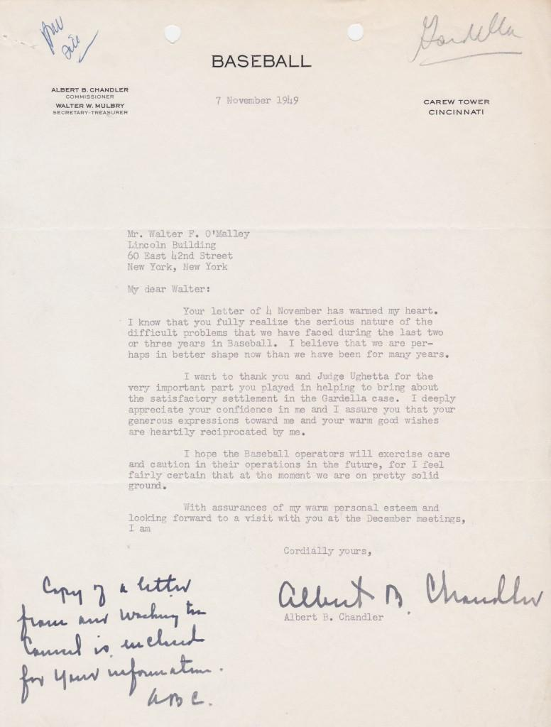 Chandler letter to Dodger owner Walter O'Malley about the Mexican League jumper Danny Gardella