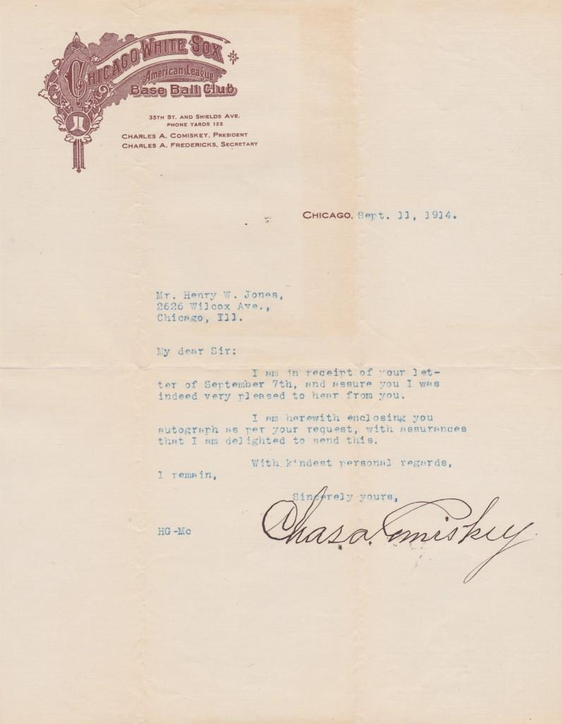 Charles Comiskey responds to an autograph request in 1914