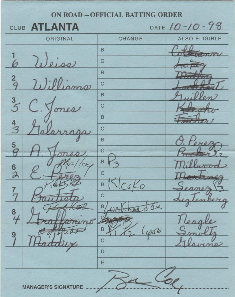 1998 NLCS Game 3 lineup card signed by Cox - Maddux takes the loss