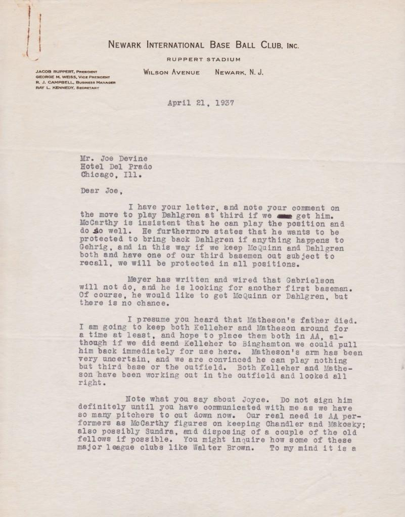 Letter from HoFer George Weiss mentioning Gehrig & eventual replacement, Babe Dahlgren