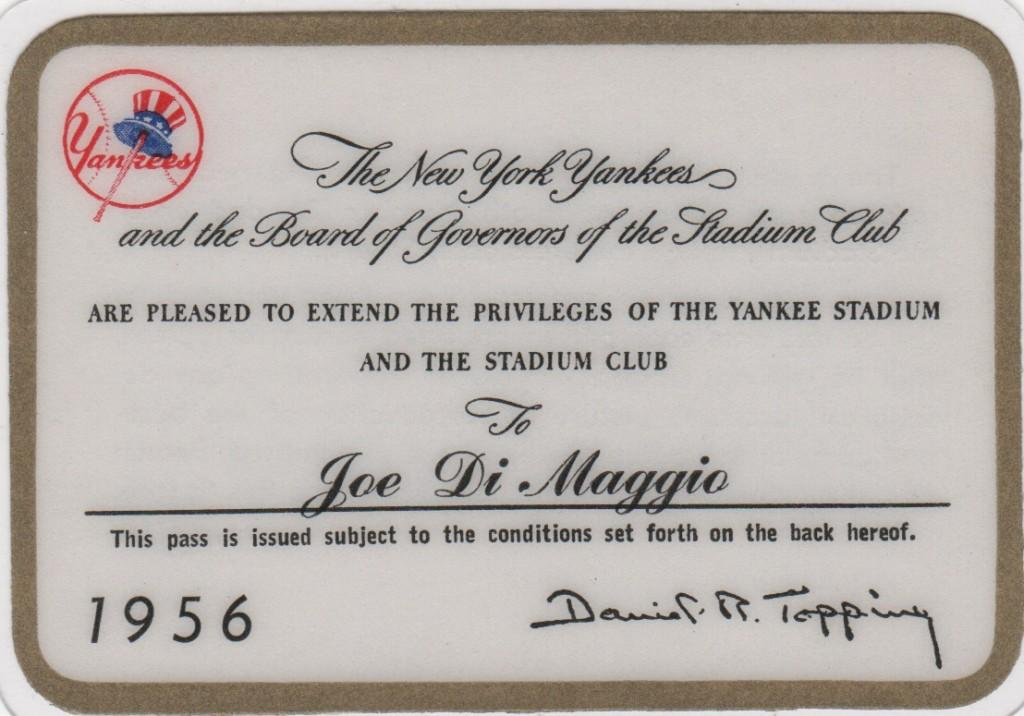Joe DiMaggio's pass to NY's 1956 World Championship season