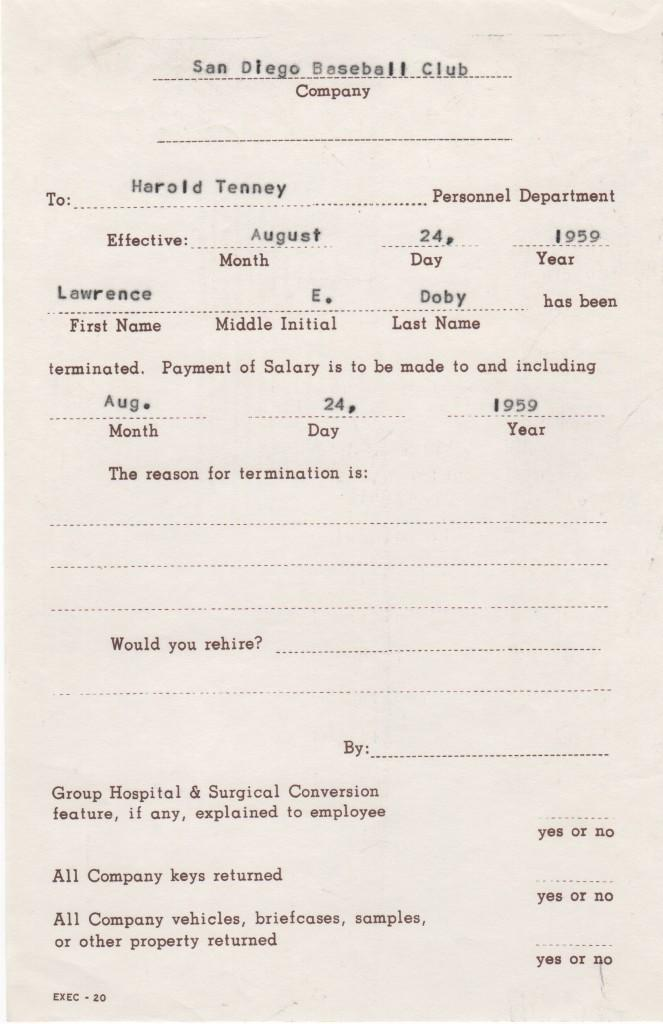 Document signaling the release of Larry Doby from Triple-A