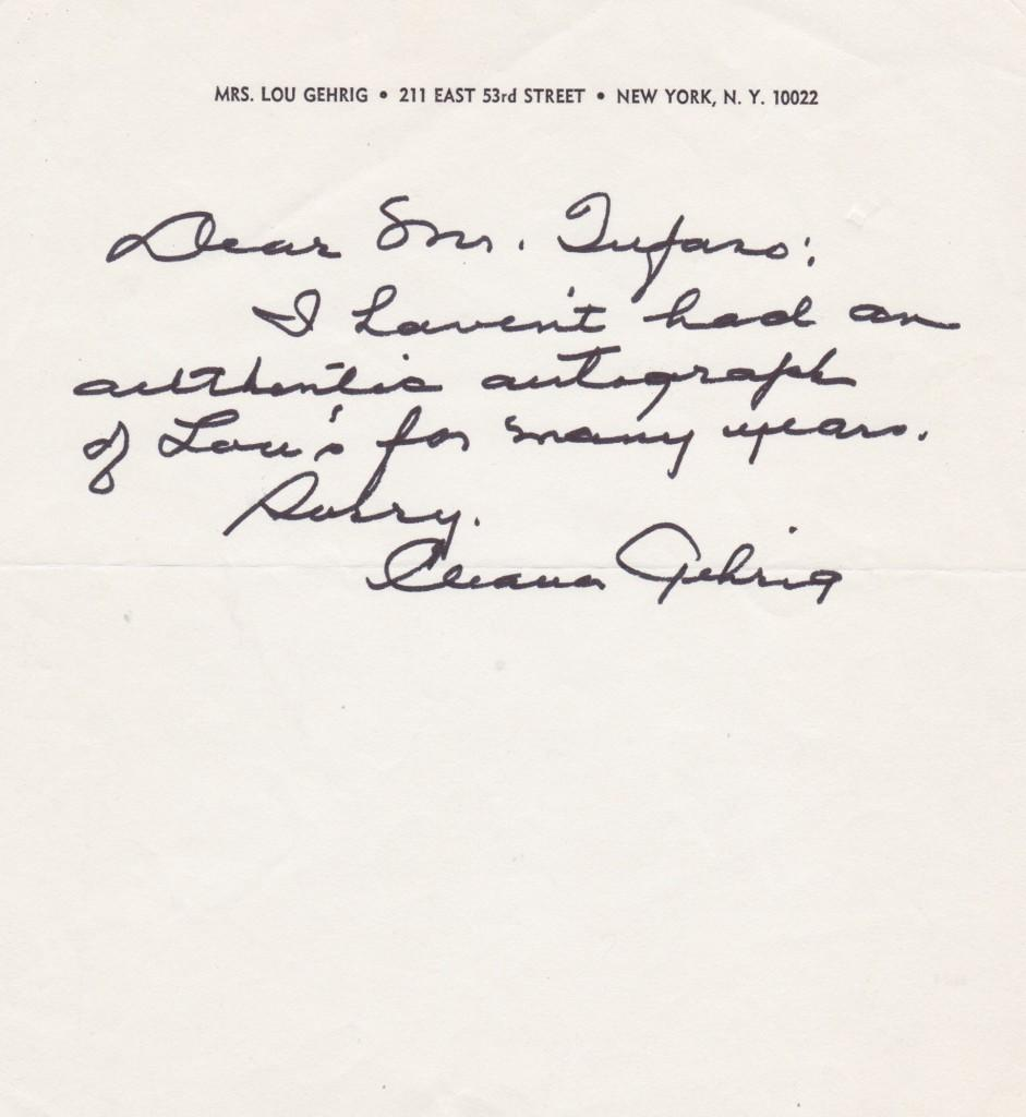 Gehrig's widow tells an autograph hunter she doesn't have any more of Lou's signatures