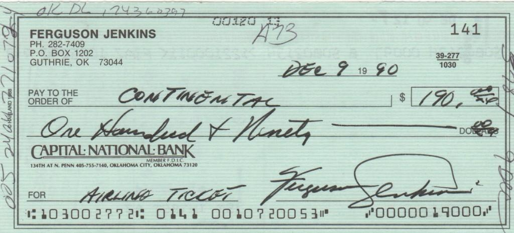 Fergie Jenkins 1990 personal check