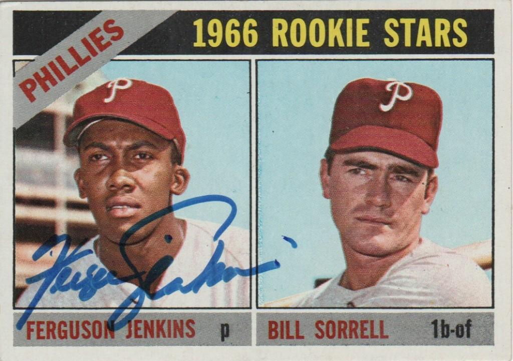 Autographed 1966 Topps rookie card of Fergie Jenkins