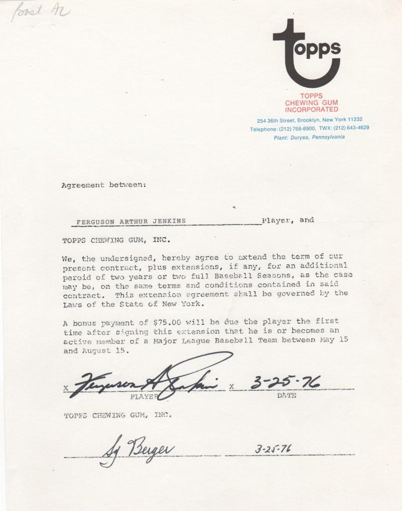 1976 Topps contract extension for Fergie