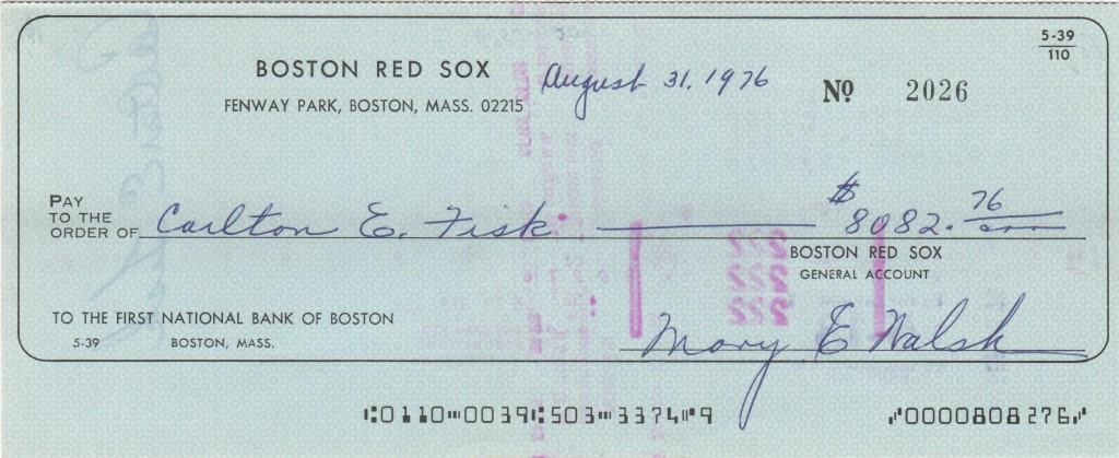 Red Sox payroll check made out to Carlton Fisk in 1976
