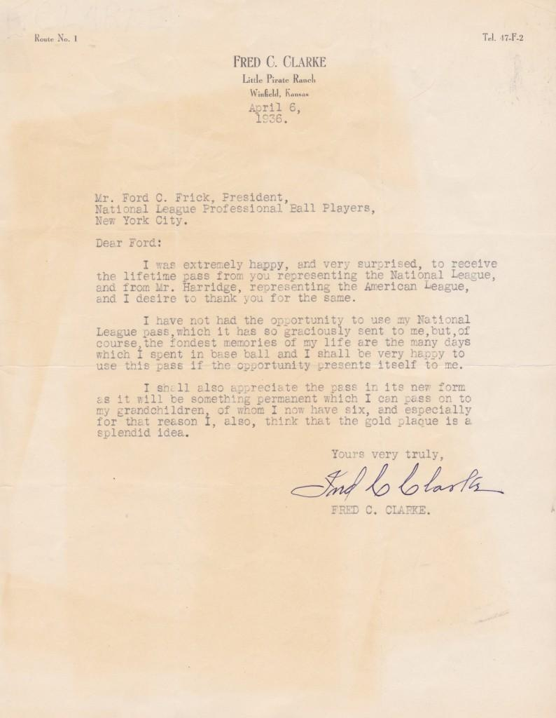Fred Clarke letter to Ford Frick thanking him for the lifetime pass