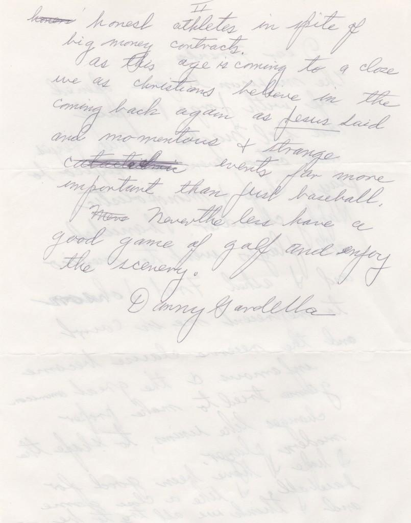 Page two of Gardella's letter about the Mexican League