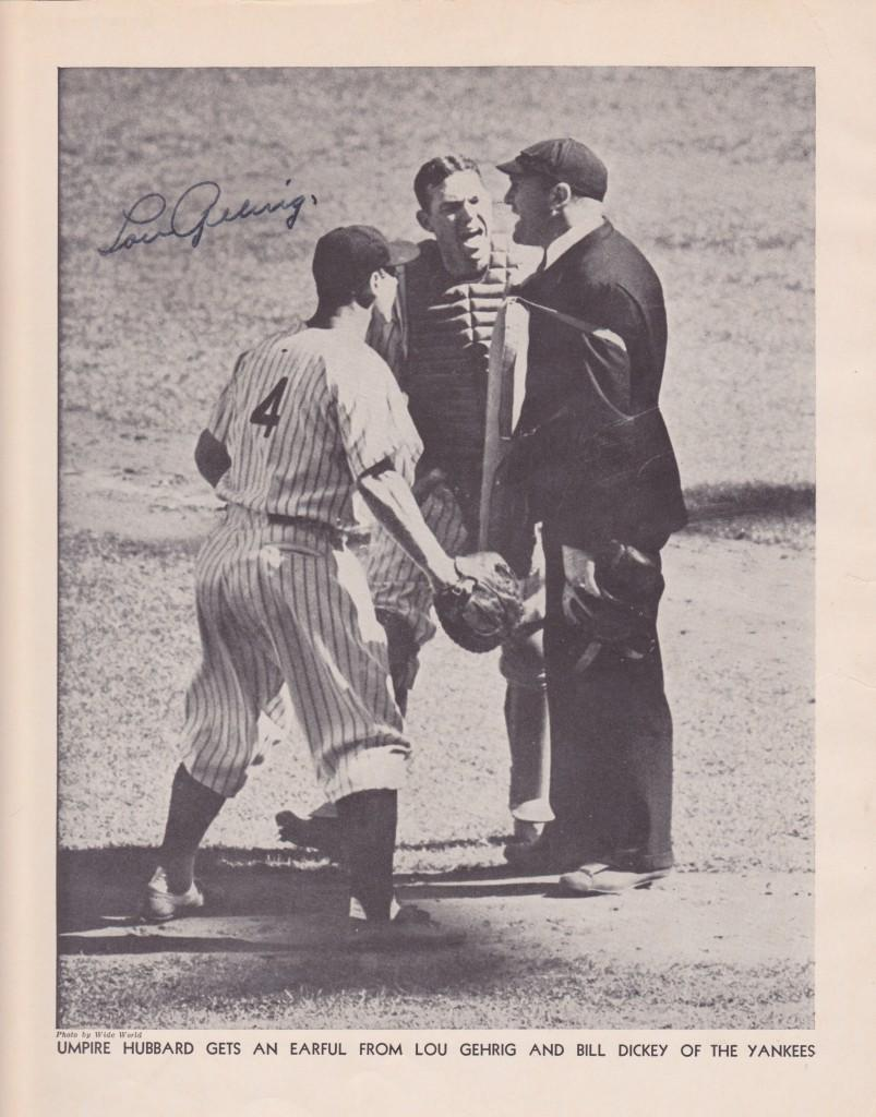 Photograph from Who's Who in Baseball signed by Lou Gehrig