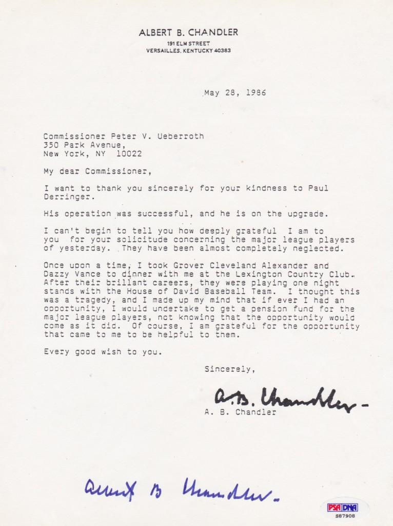 Hall of Fame commissioner Happy Chandler writes a letter mentioning Alexander's money woes