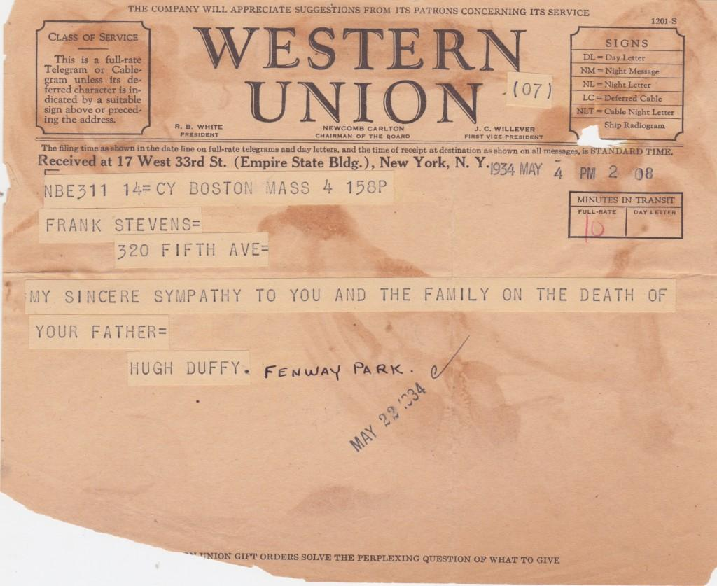 Duffy sends a telegram to the son of baseball concessionaire Harry Stevens