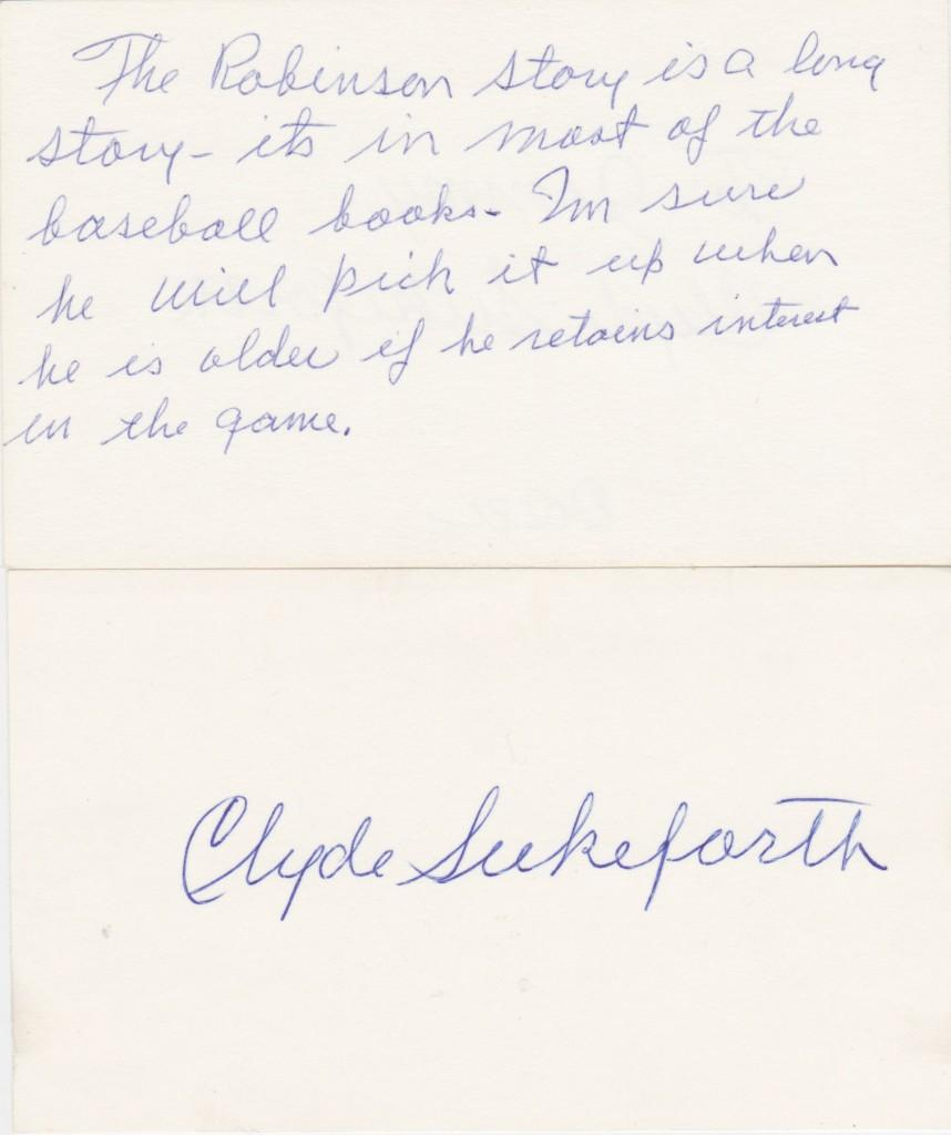 Short note from Jackie's first big league manager Clyde Sukeforth