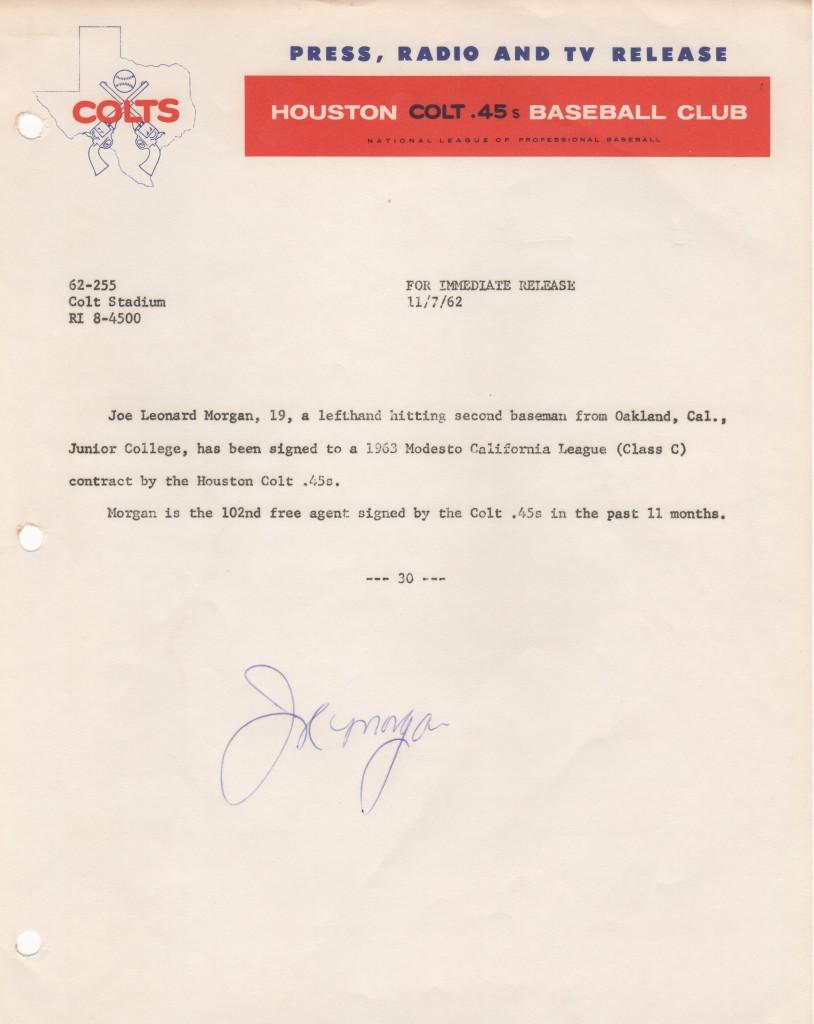 Original 1962 Colt .45s press release announcing the signing of 19-year old Joe Morgan