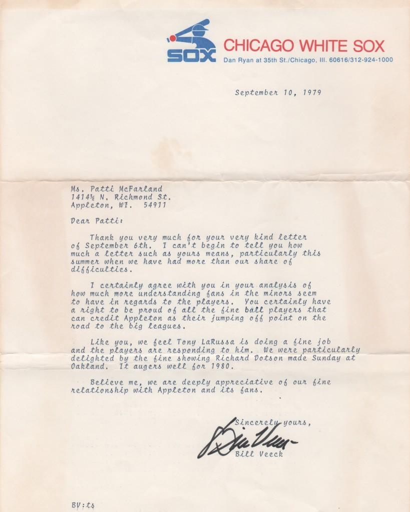 Letter from HoF White Sox owner Bill Veeck expressing confidence in rookie manager Tony La Russa