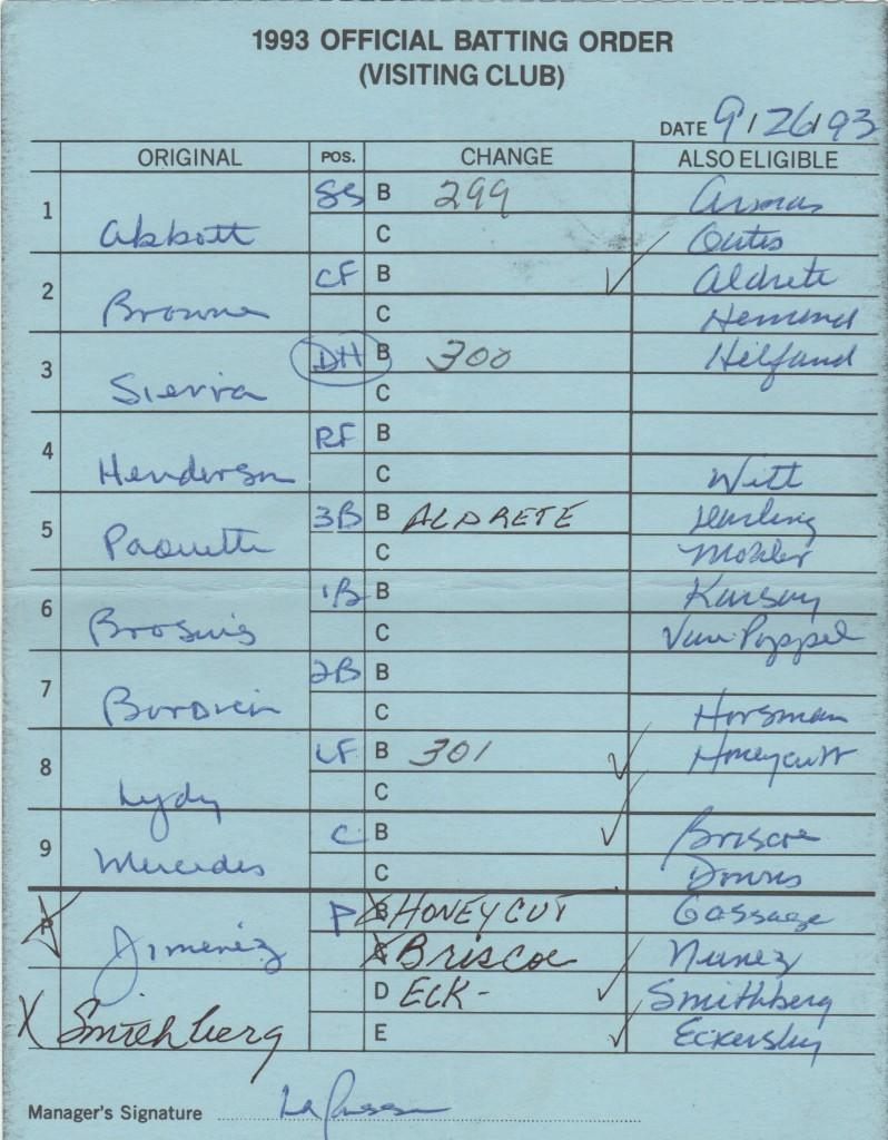 Oakland lineup card signed by La Russa on September 26, 1993