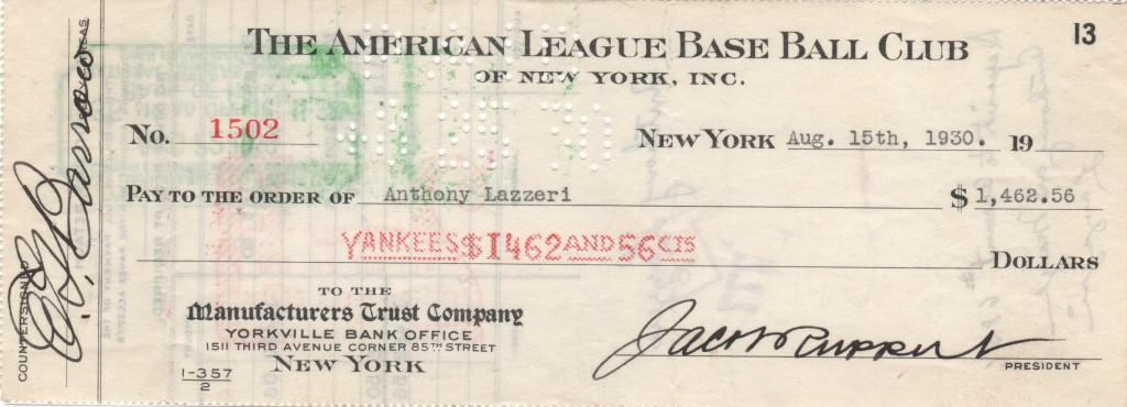 Yankee payroll check to Ton Lazzeri signed by Ed Barrow, Lazzeri, and Ruppert