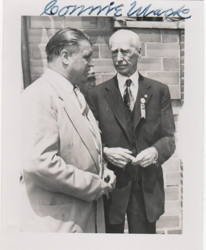 Connie Mack and his Athletics slugger Jimmie Foxx chat at Cooperstown