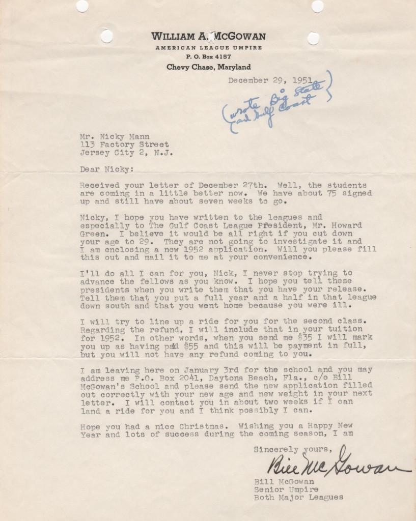Letter advising an umpire how to get work