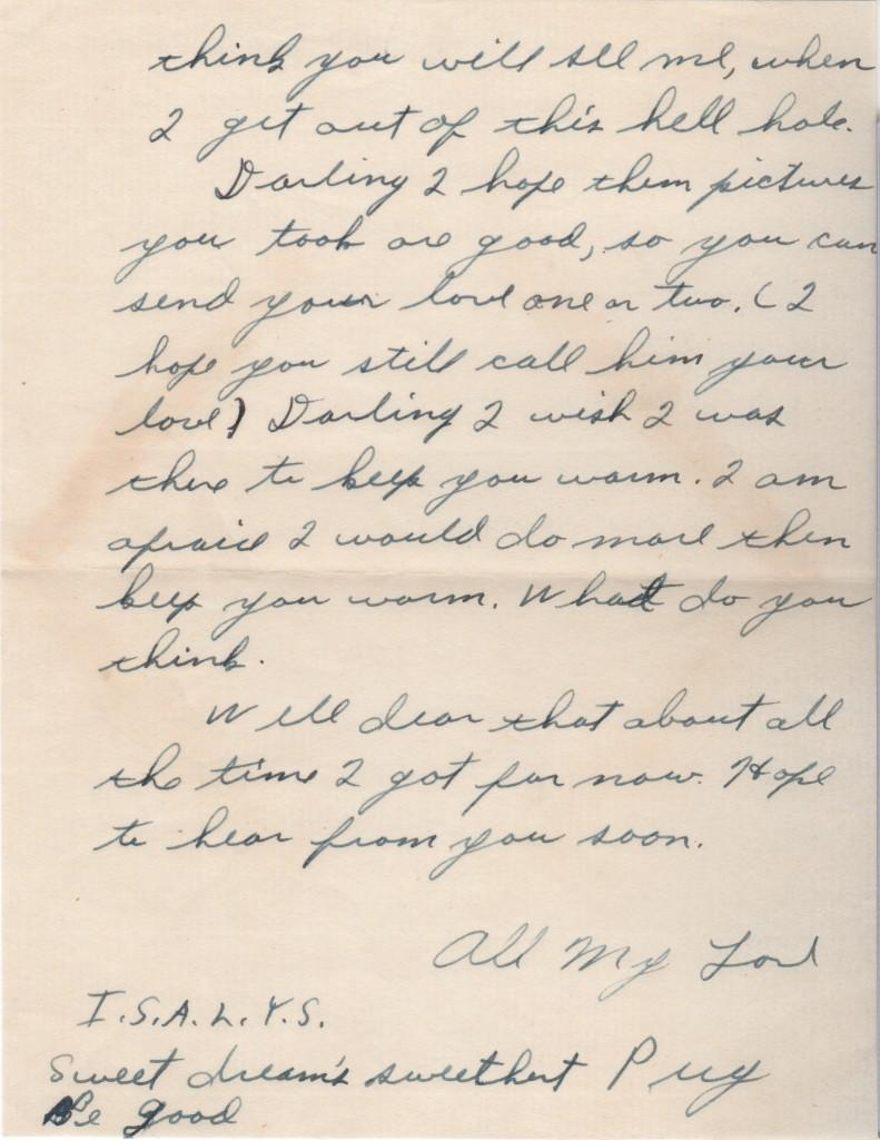 Second page of Fox's letter to his future wife