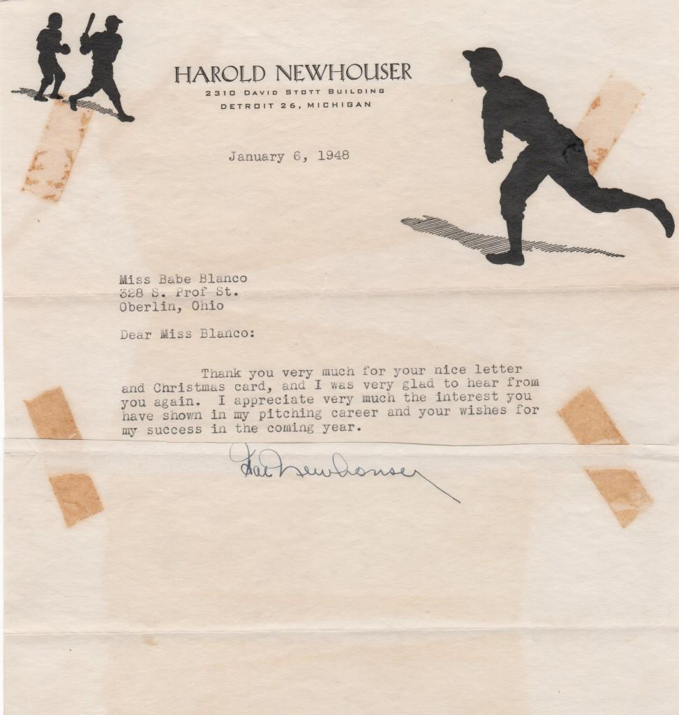 Vintage 1948 letter from Hal Newhouser
