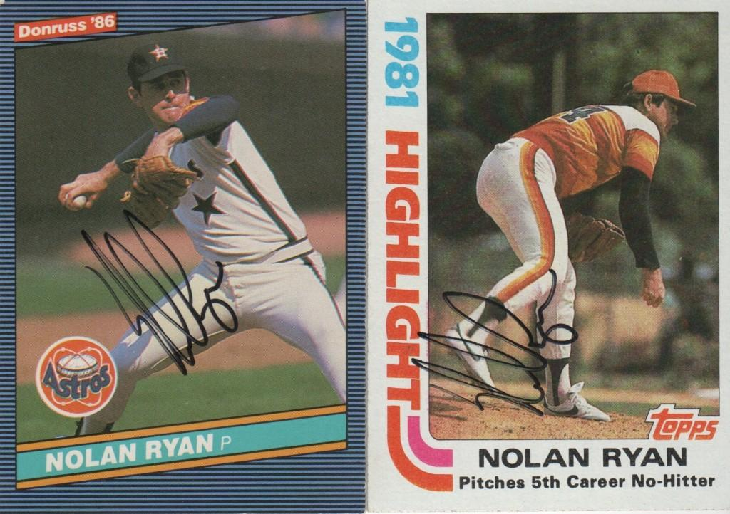 A pair of autographed baseball cards