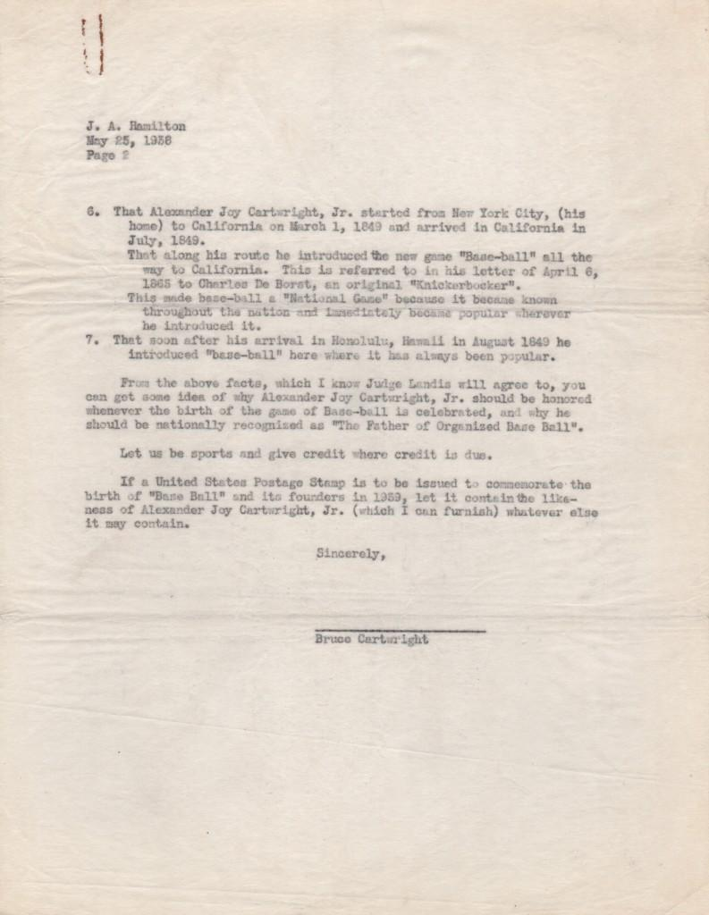 Second page of Cartwright letter to Chamber of Commerce