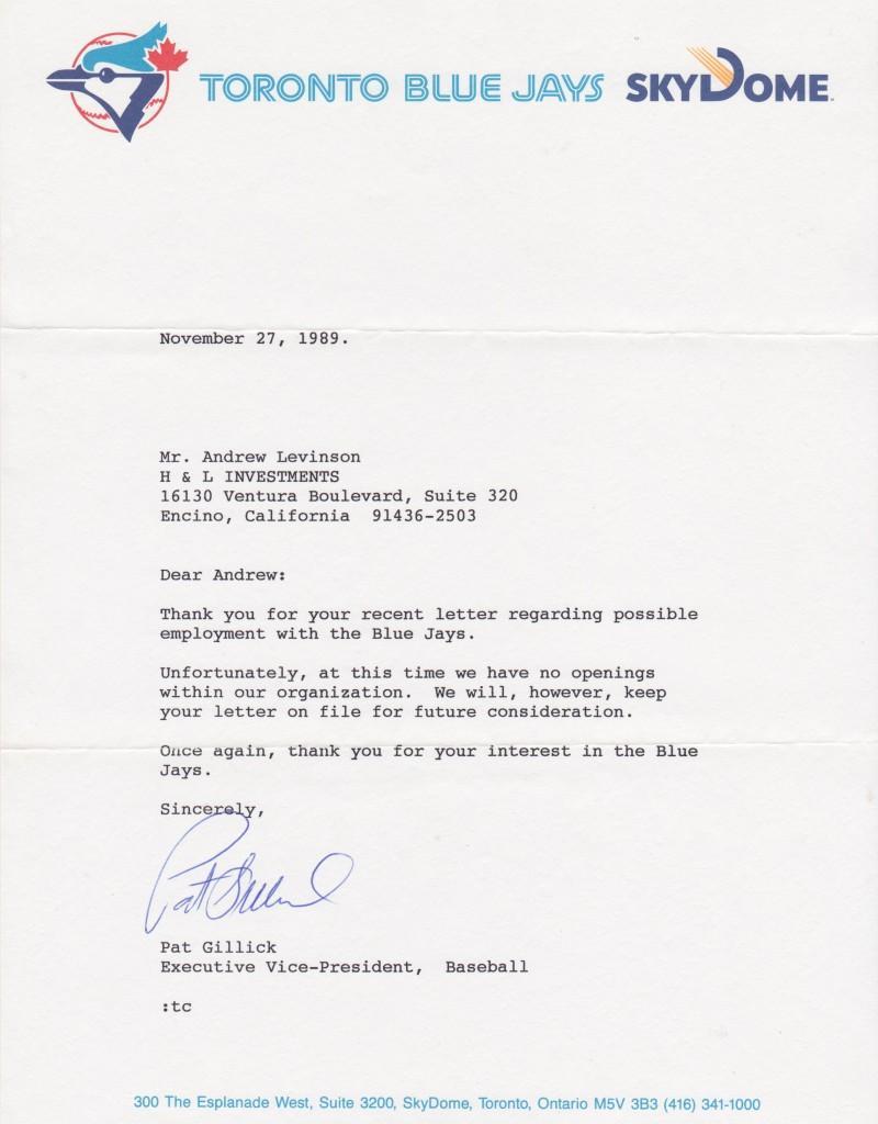 1989 letter on Blue Jays letterhead