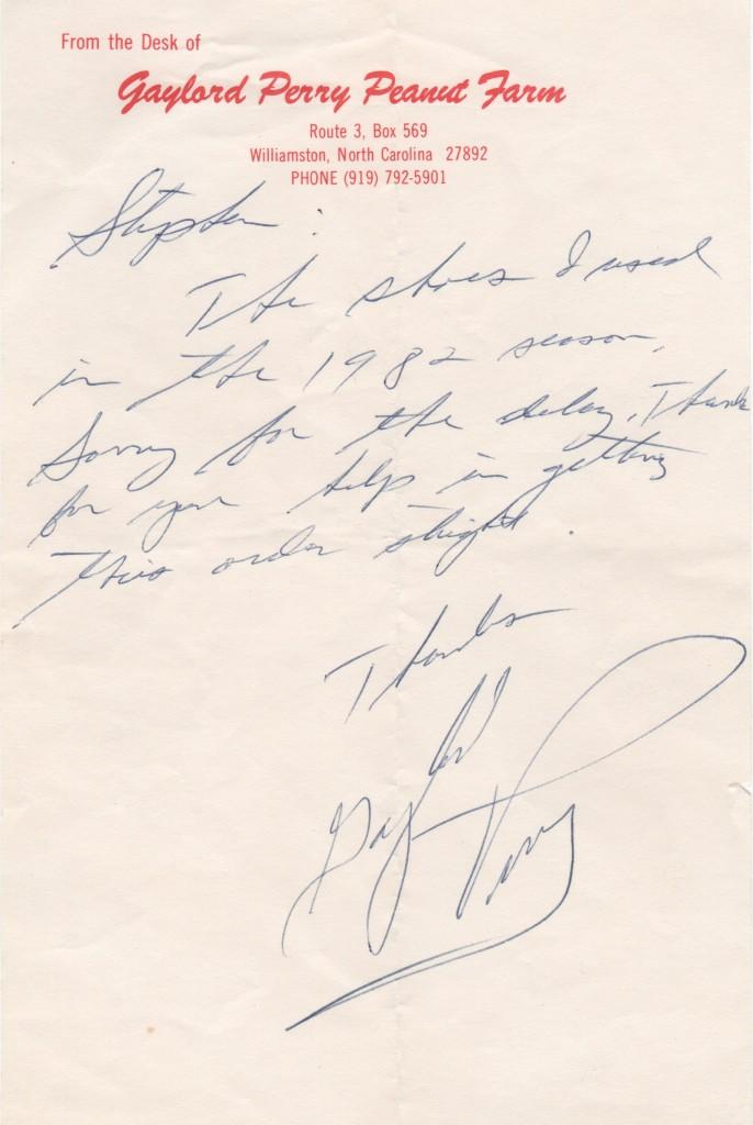 Gaylord Perry handwritten letter on his personal letterhead
