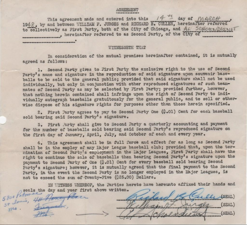 1948 contract for Red Schoendienst's signature to appear on stamped autographed souvenir baseballs