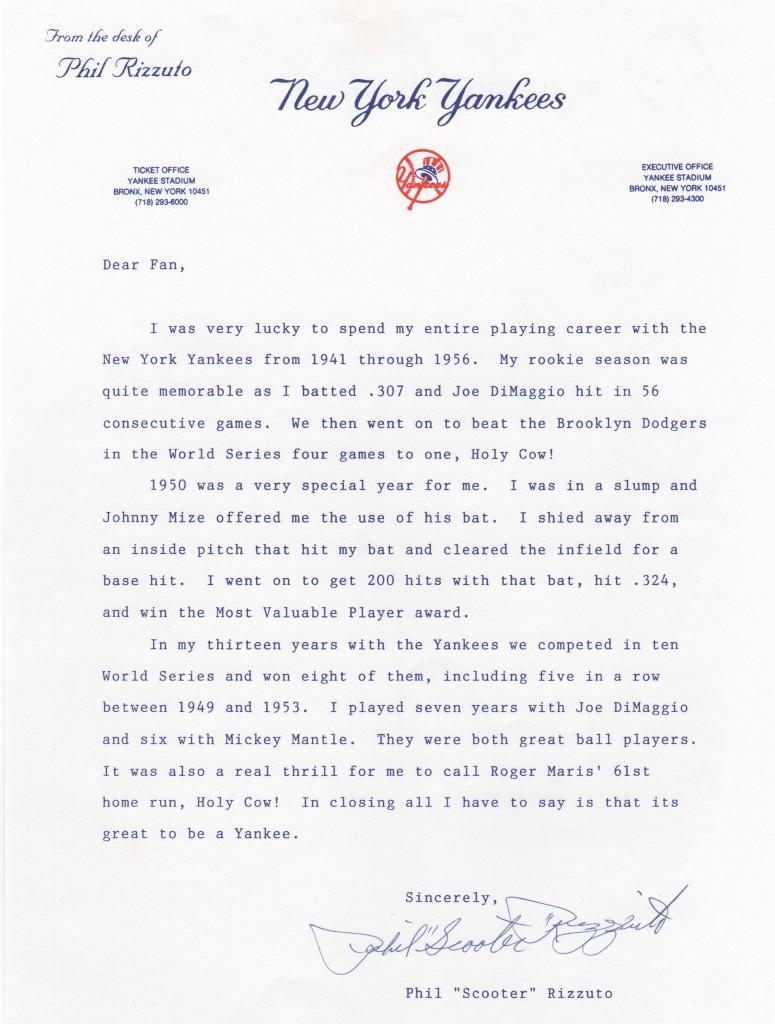 Letter on Yankee letterhead sent to fans