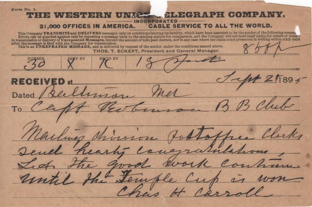 A telegram encouraging Wilbert Robinson to a Temple Cup victory in 1895