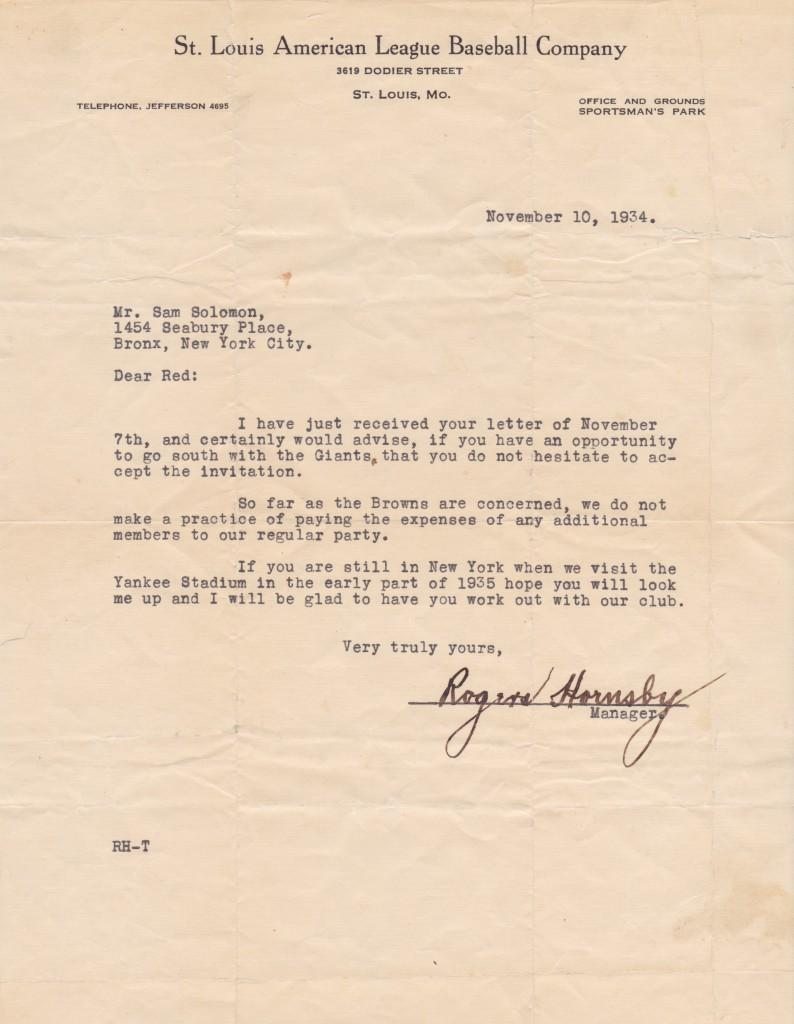 Player/Manager Rogers Hornsby responds to a request for a tryout
