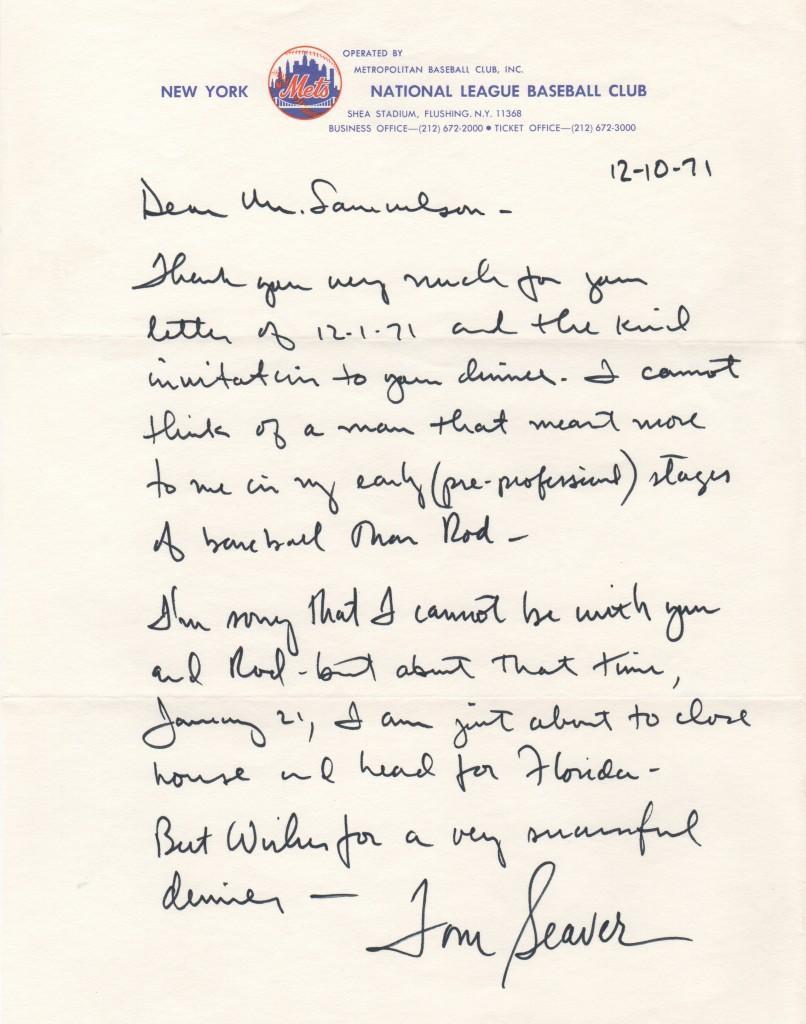 Tom Seaver handwritten letter dated 12/10/71
