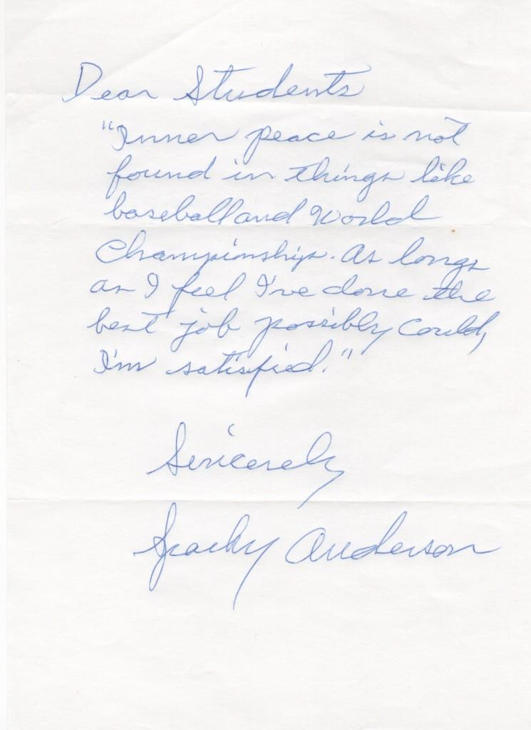 Handwritten letter with Sparky's favorite quote