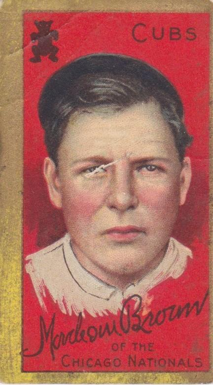 This T205 baseball card of Mordecai Brown is from 1911 when he won 21 and saved 13 more