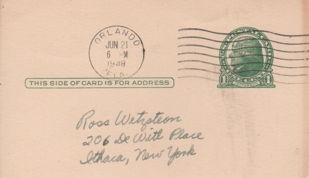 Front of the government postcard addressed to the lucky autograph collector