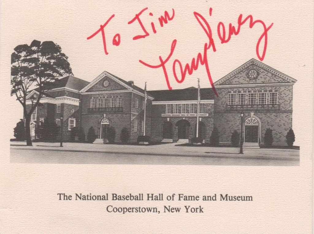 Autographed Hall of Fame stationary signed two years before his HoF induction