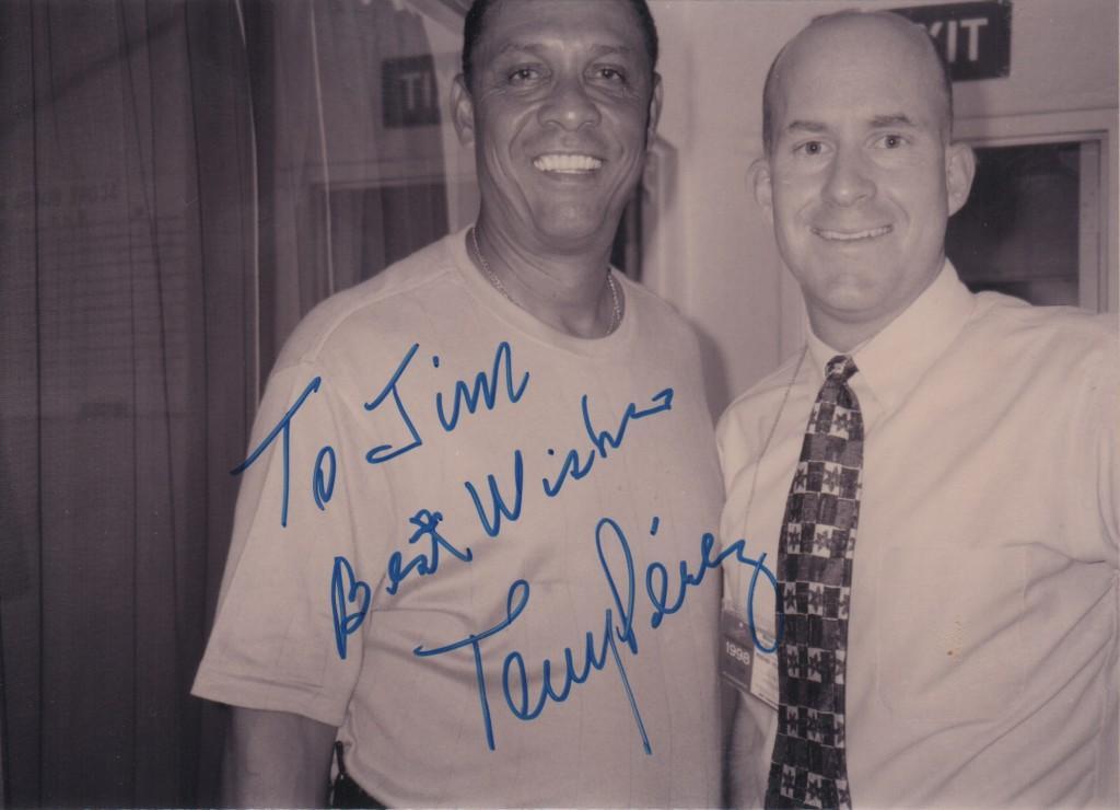 Tony Perez in the Dodger press box 8/11/98