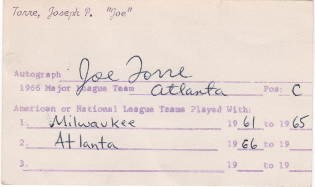 Early autograph collector gets an autograph of a  26-year old Joe Torre