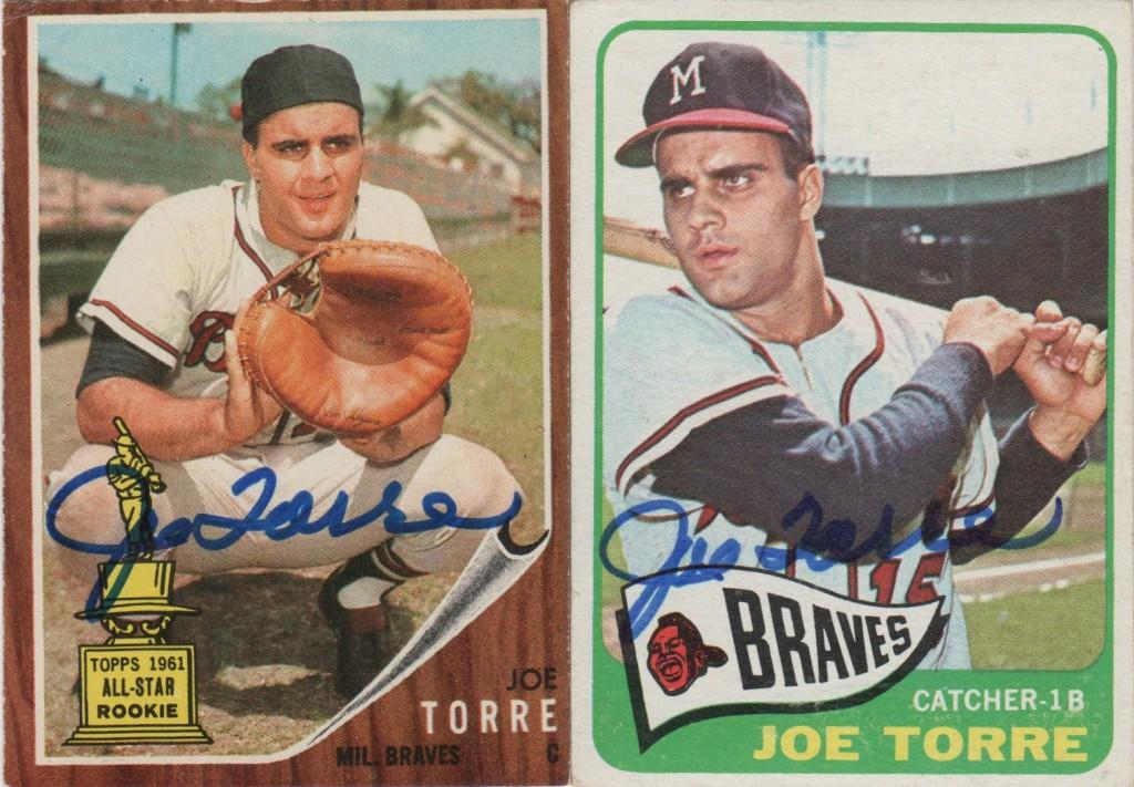 A pair of autographed baseball cards from the 1960s, including his rookie card