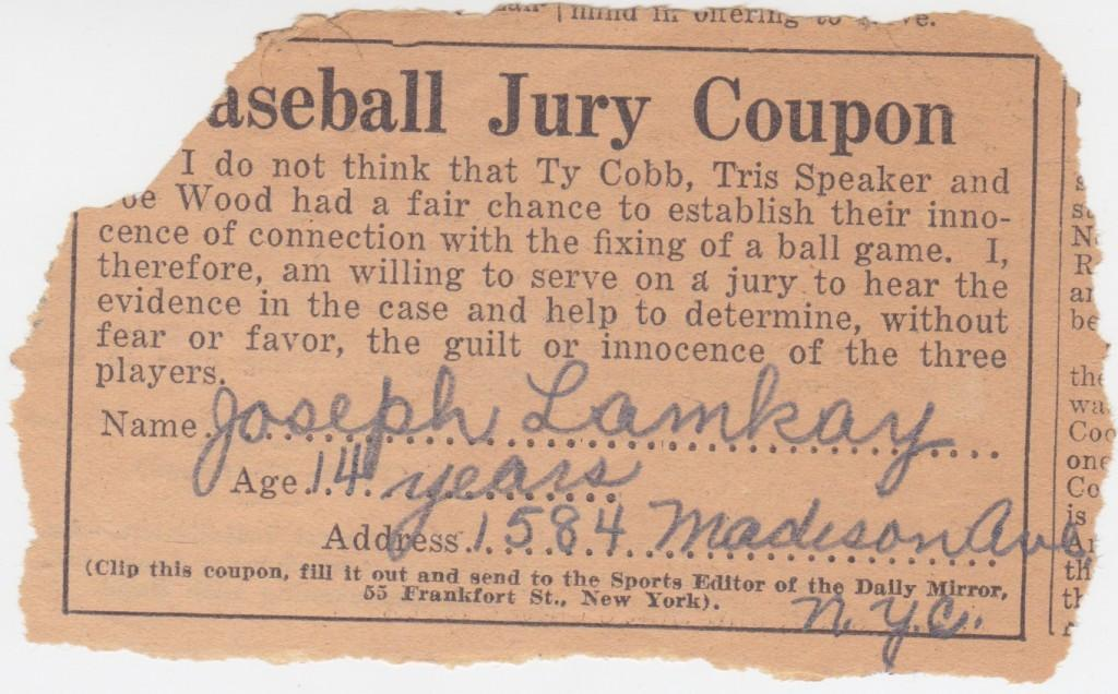 Baseball jury coupon from 1926 gambling scandal