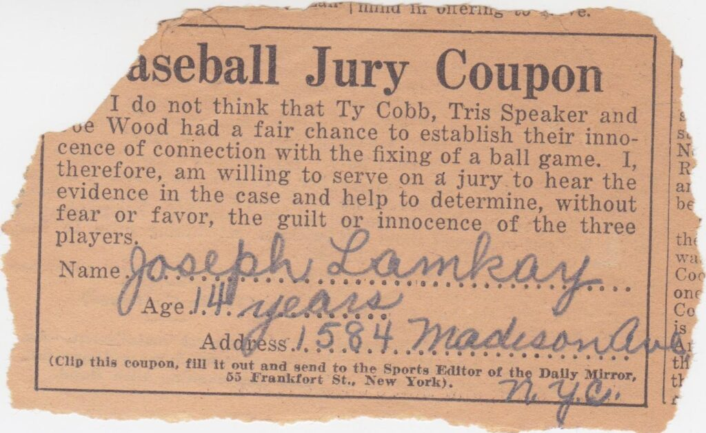 Ty Cobb, Joe Wood, and Speaker were cleared of a game-fixing scandal by Commissioner Kenesaw Landis