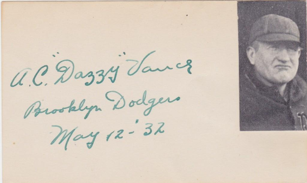 Dazzy Vance autograph signed the day before his 178th career win