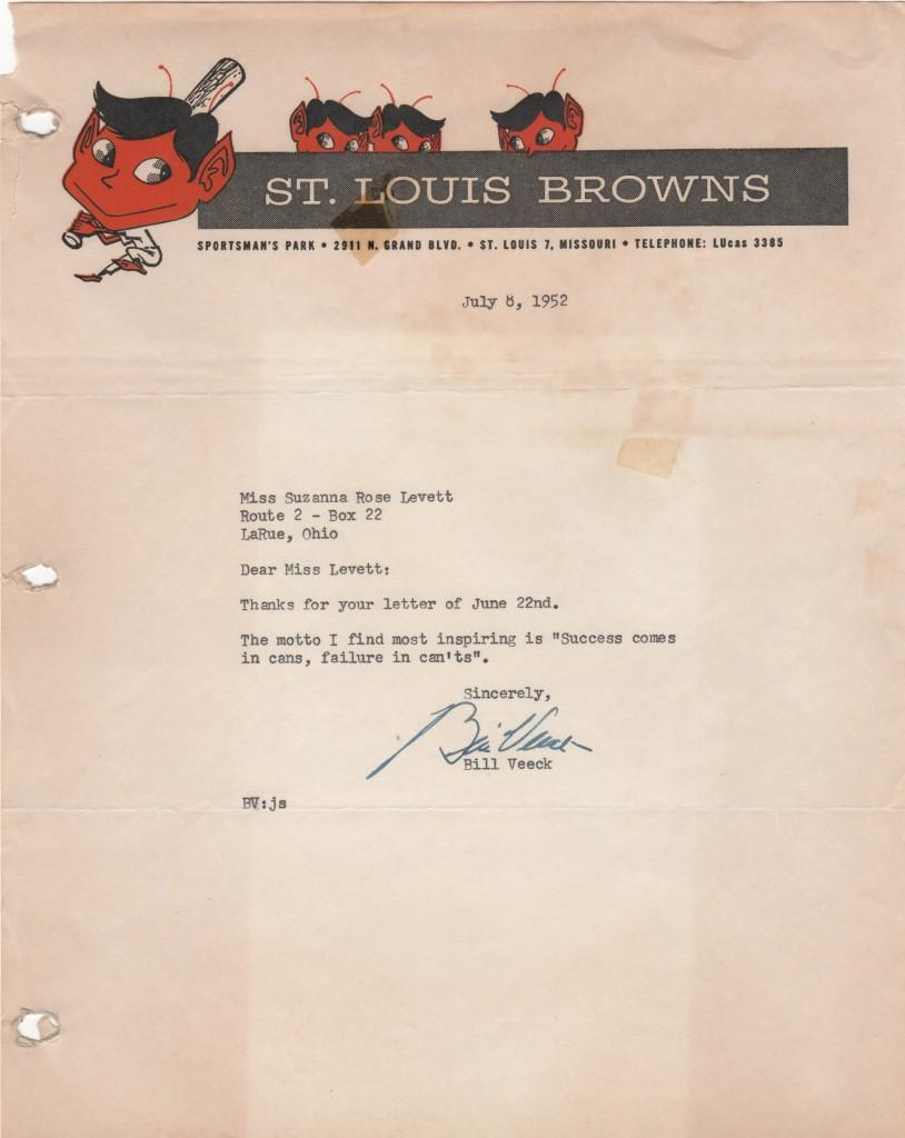 Bill Veeck signed letter on St. Louis Browns letterhead